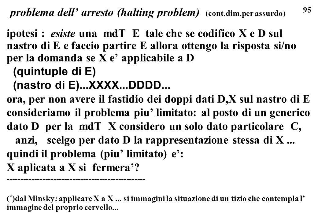 95 problema dell arresto (halting problem) (cont.dim.per assurdo) ipotesi : esiste una mdT E tale che se codifico X e D sul nastro di E e faccio parti