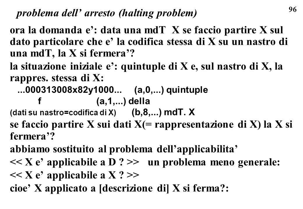 96 problema dell arresto (halting problem) ora la domanda e: data una mdT X se faccio partire X sul dato particolare che e la codifica stessa di X su