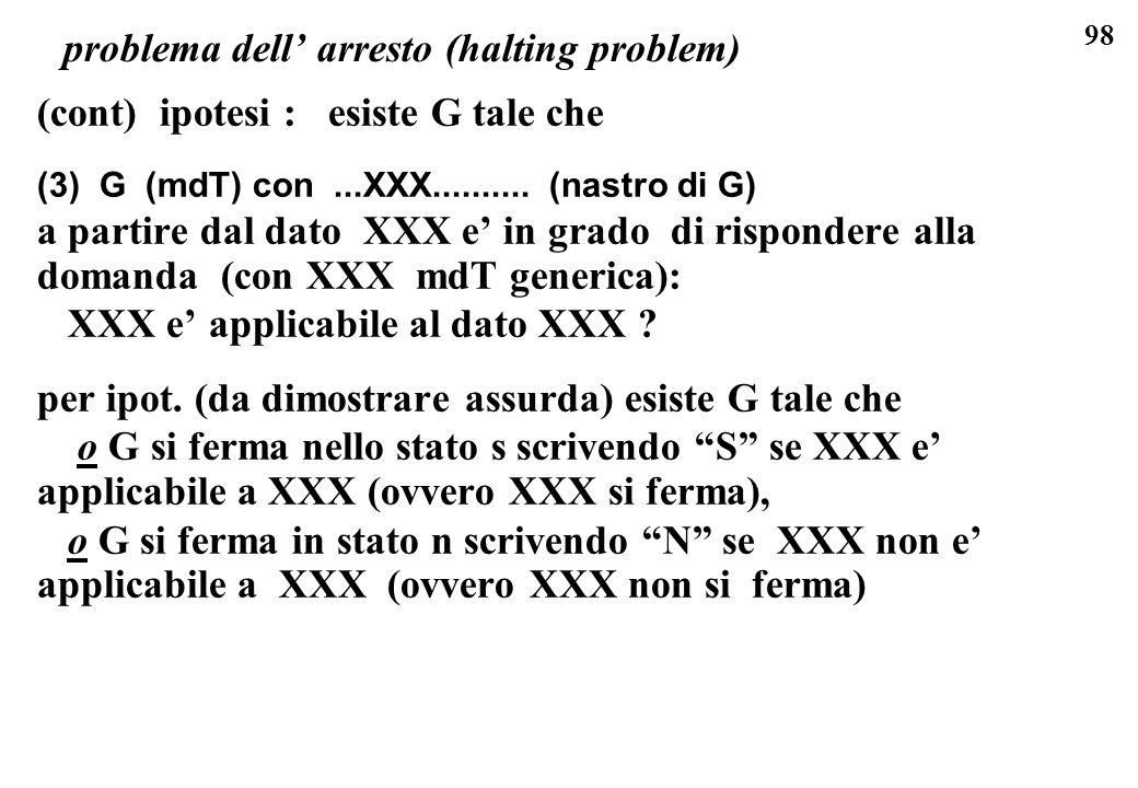 98 problema dell arresto (halting problem) (cont) ipotesi : esiste G tale che (3) G (mdT) con...XXX.......... (nastro di G) a partire dal dato XXX e i