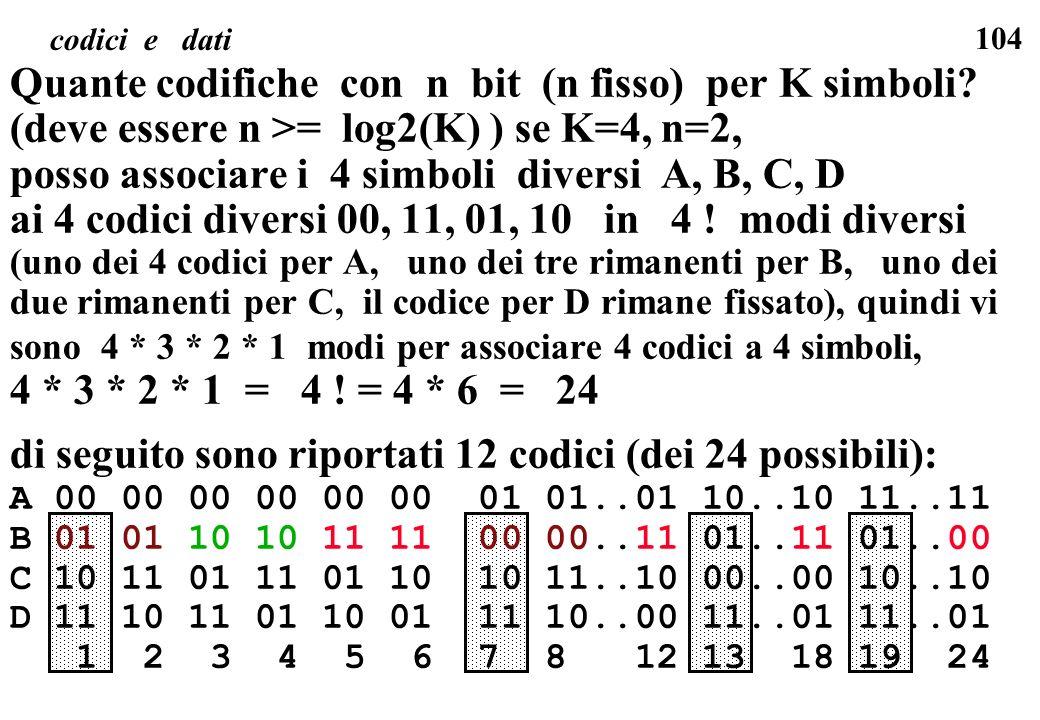 104 codici e dati Quante codifiche con n bit (n fisso) per K simboli? (deve essere n >= log2(K) ) se K=4, n=2, posso associare i 4 simboli diversi A,