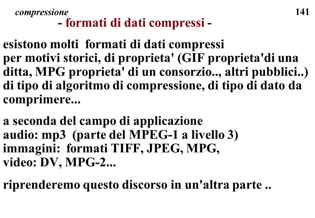 141 compressione - formati di dati compressi - esistono molti formati di dati compressi per motivi storici, di proprieta' (GIF proprieta'di una ditta,