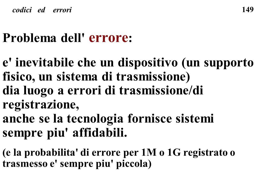 149 codici ed errori Problema dell' errore : e' inevitabile che un dispositivo (un supporto fisico, un sistema di trasmissione) dia luogo a errori di