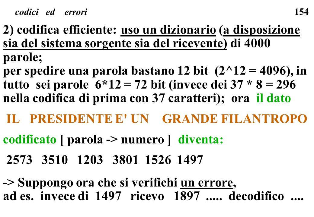 154 codici ed errori 2) codifica efficiente: uso un dizionario (a disposizione sia del sistema sorgente sia del ricevente) di 4000 parole; per spedire