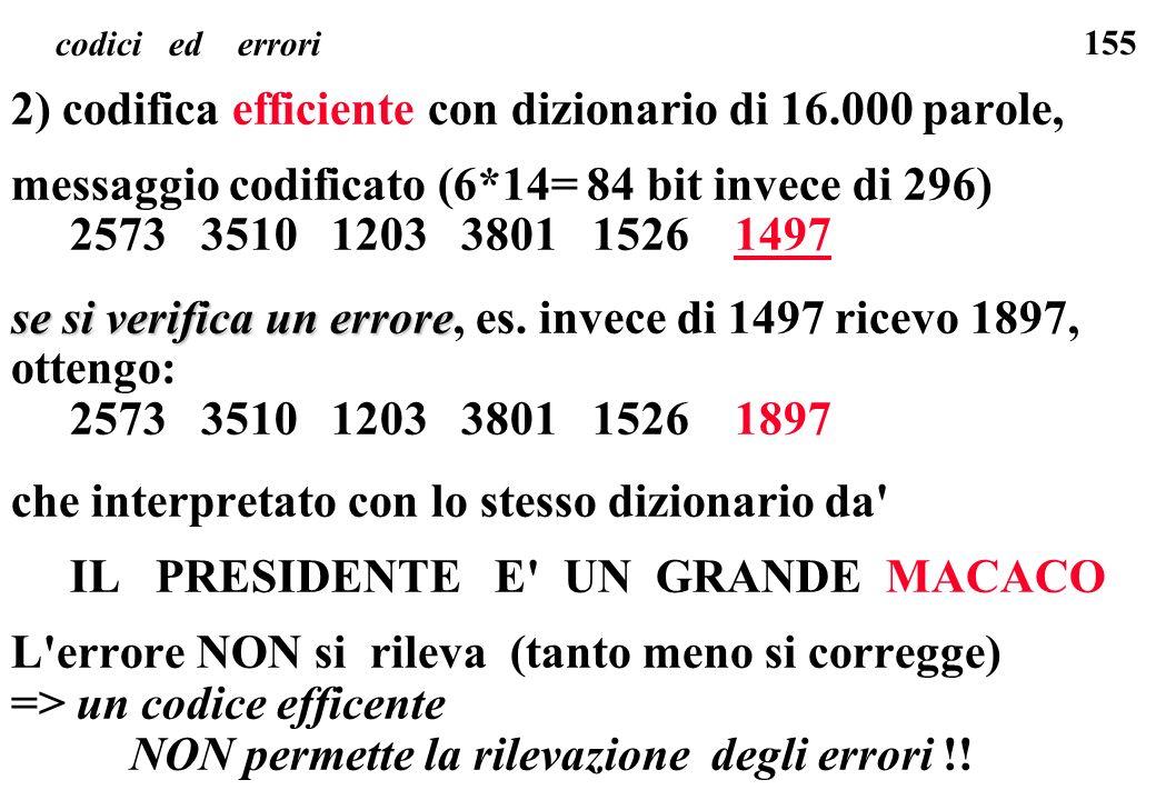 155 codici ed errori 2) codifica efficiente con dizionario di 16.000 parole, messaggio codificato (6*14= 84 bit invece di 296) 2573 3510 1203 3801 152