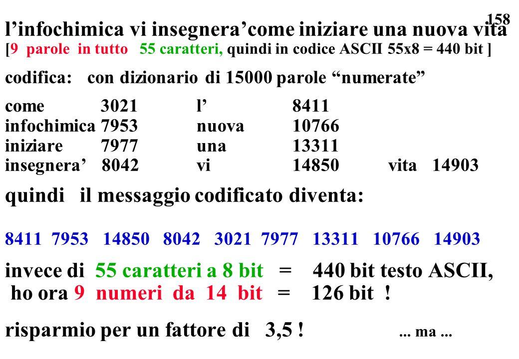 158 linfochimica vi insegneracome iniziare una nuova vita [9 parole in tutto 55 caratteri, quindi in codice ASCII 55x8 = 440 bit ] codifica: con dizio