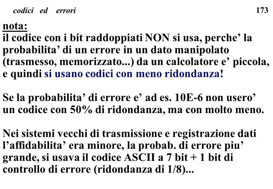 173 codici ed errori nota: il codice con i bit raddoppiati NON si usa, perche la probabilita di un errore in un dato manipolato (trasmesso, memorizzat