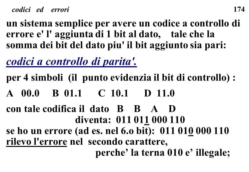 174 codici ed errori un sistema semplice per avere un codice a controllo di errore e' l' aggiunta di 1 bit al dato, tale che la somma dei bit del dato