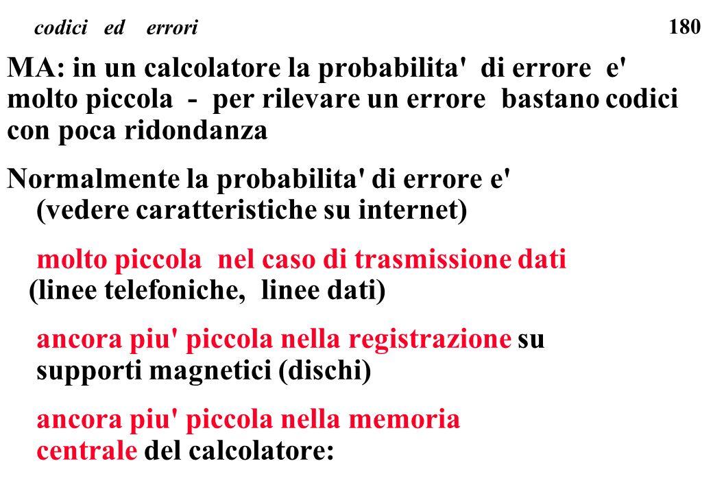 180 codici ed errori MA: in un calcolatore la probabilita' di errore e' molto piccola - per rilevare un errore bastano codici con poca ridondanza Norm