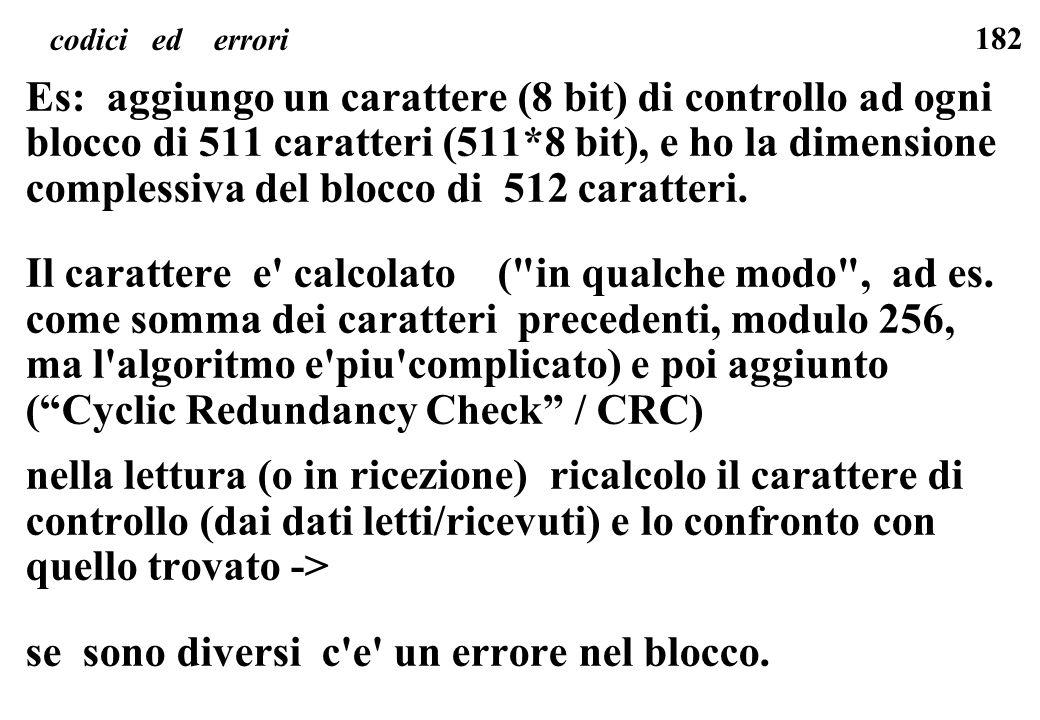 182 codici ed errori Es: aggiungo un carattere (8 bit) di controllo ad ogni blocco di 511 caratteri (511*8 bit), e ho la dimensione complessiva del bl