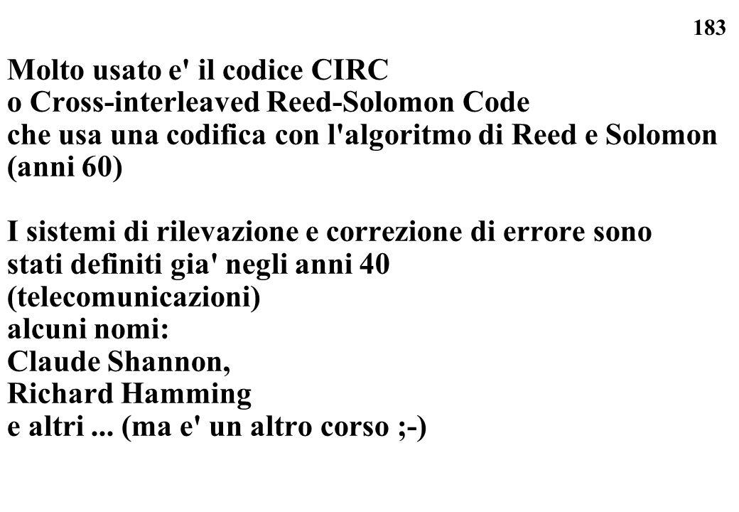 183 Molto usato e' il codice CIRC o Cross-interleaved Reed-Solomon Code che usa una codifica con l'algoritmo di Reed e Solomon (anni 60) I sistemi di