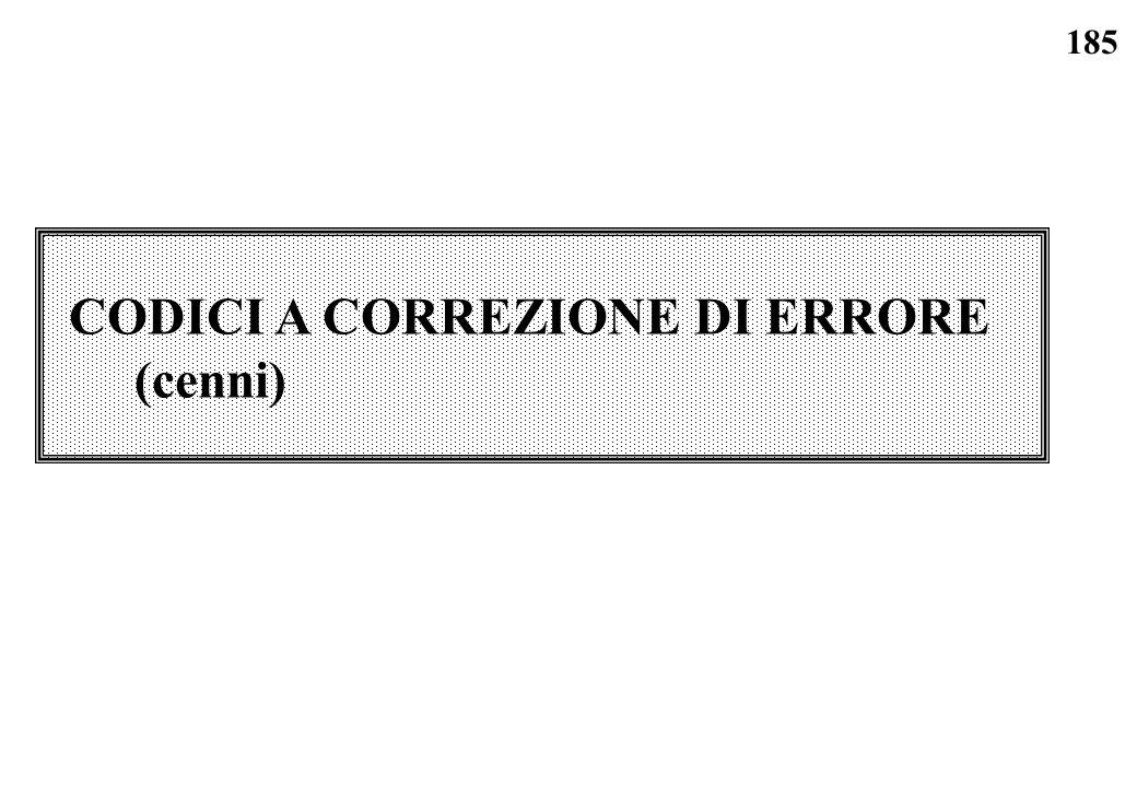 185 CODICI A CORREZIONE DI ERRORE (cenni)