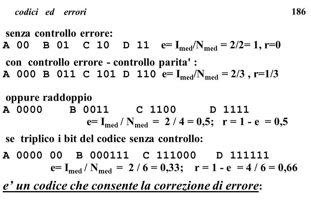 186 codici ed errori senza controllo errore: A 00 B 01 C 10 D 11 e= I med /N med = 2/2= 1, r=0 con controllo errore - controllo parita' : A 000 B 011