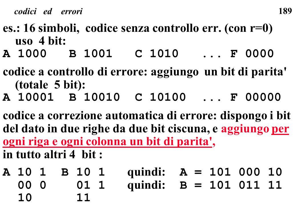 189 codici ed errori es.: 16 simboli, codice senza controllo err. (con r=0) uso 4 bit: A 1000 B 1001 C 1010... F 0000 codice a controllo di errore: ag