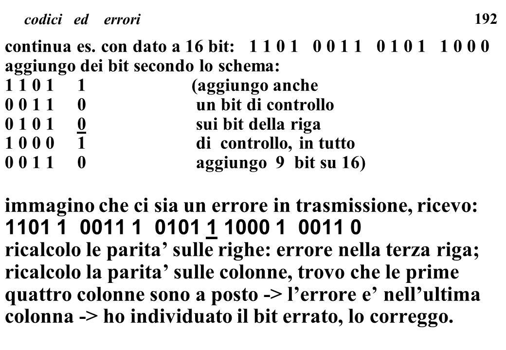 192 codici ed errori continua es. con dato a 16 bit: 1 1 0 1 0 0 1 1 0 1 0 1 1 0 0 0 aggiungo dei bit secondo lo schema: 1 1 0 1 1(aggiungo anche 0 0