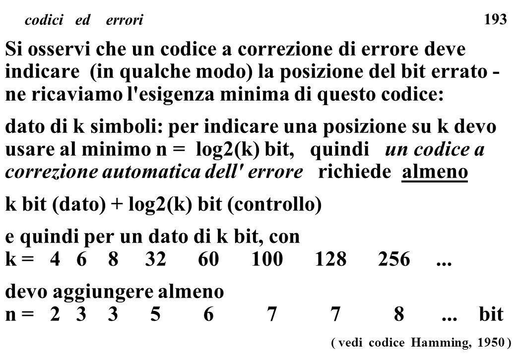 193 codici ed errori Si osservi che un codice a correzione di errore deve indicare (in qualche modo) la posizione del bit errato - ne ricaviamo l'esig