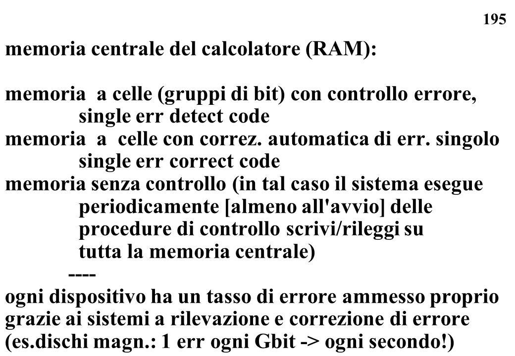 195 memoria centrale del calcolatore (RAM): memoria a celle (gruppi di bit) con controllo errore, single err detect code memoria a celle con correz. a