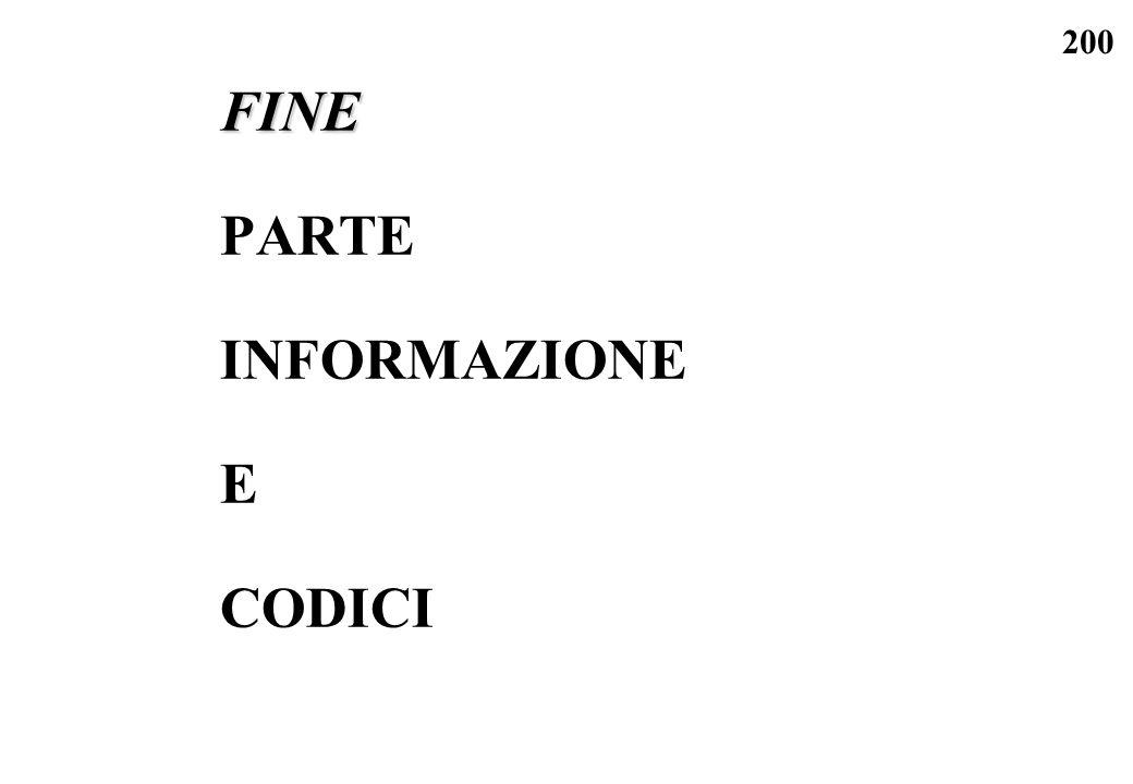 200 FINE PARTE INFORMAZIONE E CODICI