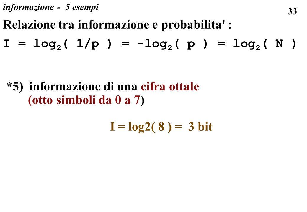 33 informazione - 5 esempi Relazione tra informazione e probabilita' : I = log 2 ( 1/p ) = -log 2 ( p ) = log 2 ( N ) *5) informazione di una cifra ot