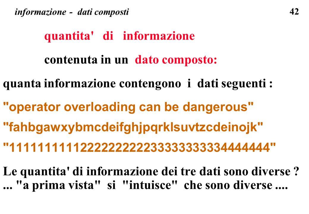 42 informazione - dati composti quantita' di informazione contenuta in un dato composto: quanta informazione contengono i dati seguenti :