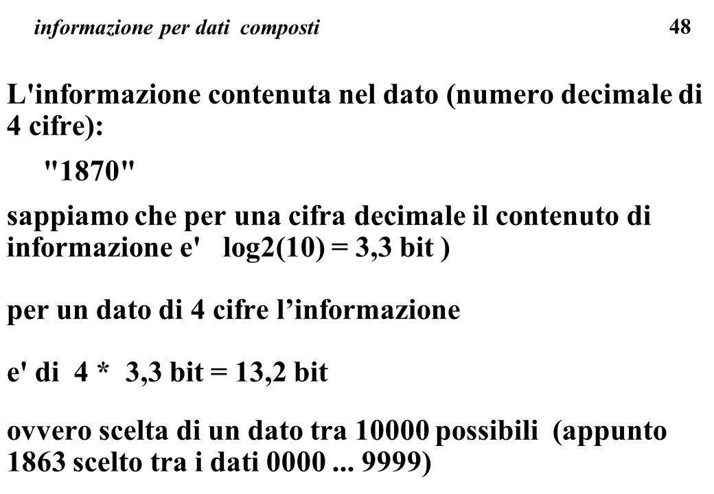 48 informazione per dati composti L'informazione contenuta nel dato (numero decimale di 4 cifre):