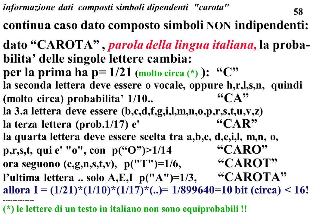 58 informazione dati composti simboli dipendenti