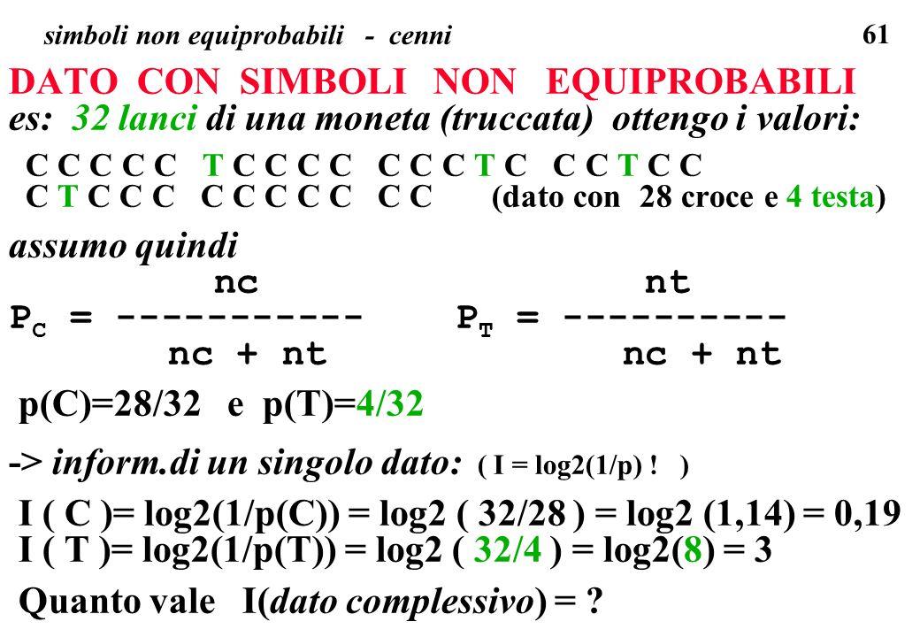 61 simboli non equiprobabili - cenni DATO CON SIMBOLI NON EQUIPROBABILI es: 32 lanci di una moneta (truccata) ottengo i valori: C C C C C T C C C C C