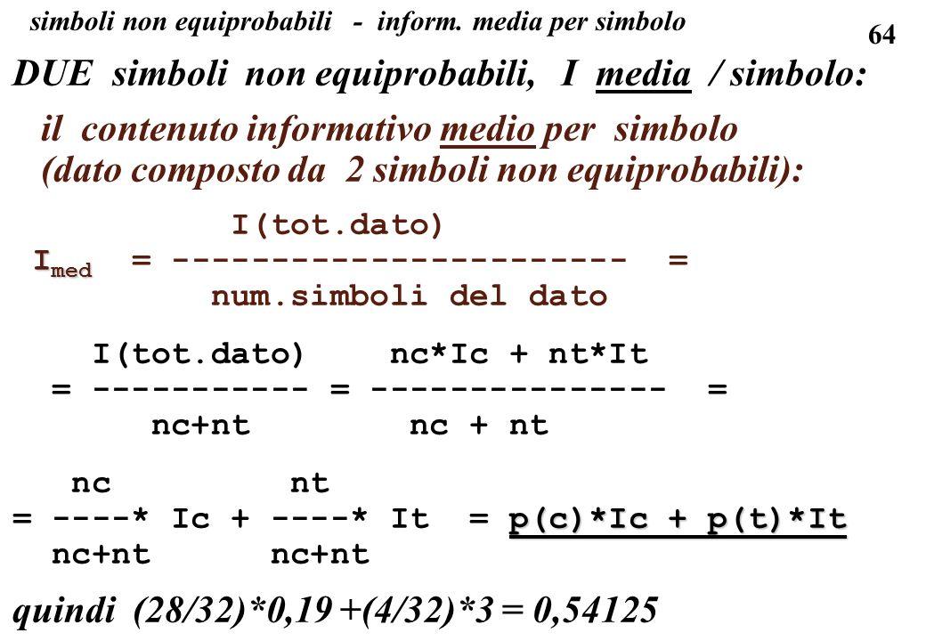 64 simboli non equiprobabili - inform. media per simbolo DUE simboli non equiprobabili, I media / simbolo: il contenuto informativo medio per simbolo