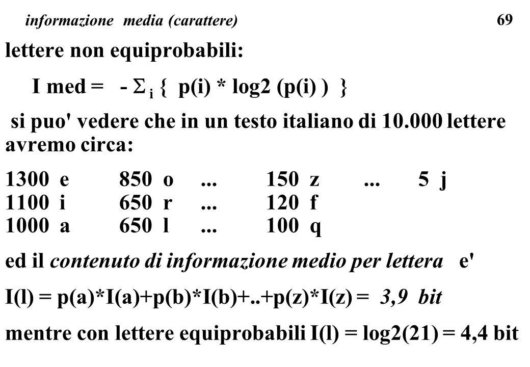 69 informazione media (carattere) lettere non equiprobabili: I med = - i { p(i) * log2 (p(i) ) } si puo' vedere che in un testo italiano di 10.000 let