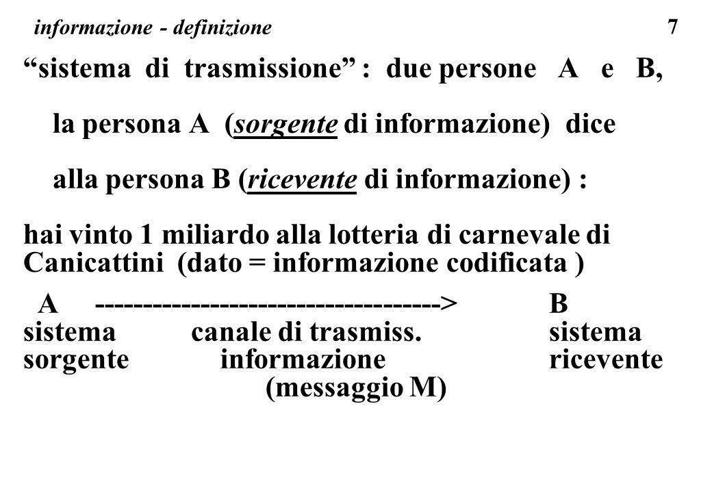 7 informazione - definizione sistema di trasmissione : due persone A e B, la persona A (sorgente di informazione) dice alla persona B (ricevente di in