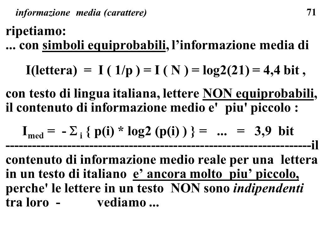 71 informazione media (carattere) ripetiamo:... con simboli equiprobabili, linformazione media di I(lettera) = I ( 1/p ) = I ( N ) = log2(21) = 4,4 bi