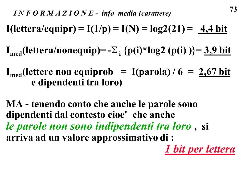 73 I N F O R M A Z I O N E - info media (carattere) I(lettera/equipr) = I(1/p) = I(N) = log2(21) = 4,4 bit I med (lettera/nonequip)= - i {p(i)*log2 (p