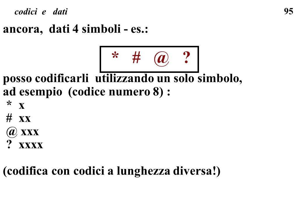 95 codici e dati ancora, dati 4 simboli - es.: * # @ ? posso codificarli utilizzando un solo simbolo, ad esempio (codice numero 8) : * x # xx @ xxx ?