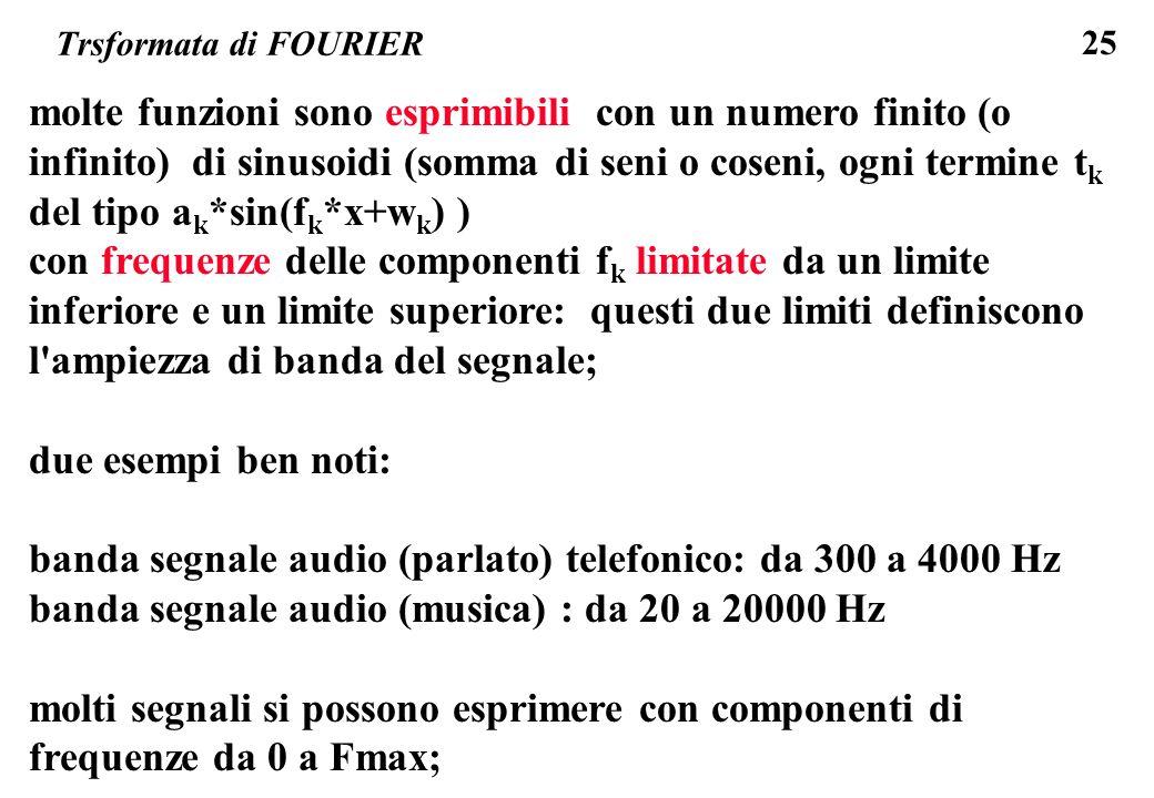 25 Trsformata di FOURIER molte funzioni sono esprimibili con un numero finito (o infinito) di sinusoidi (somma di seni o coseni, ogni termine t k del