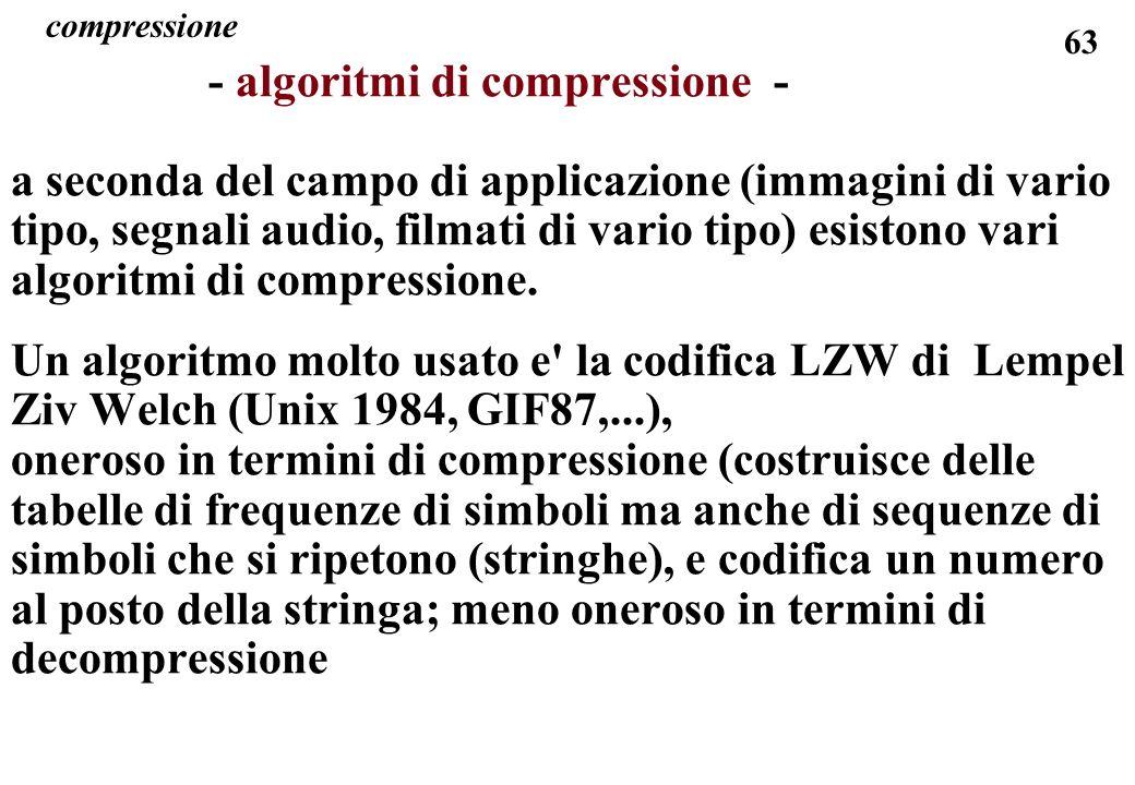 63 compressione - algoritmi di compressione - a seconda del campo di applicazione (immagini di vario tipo, segnali audio, filmati di vario tipo) esist