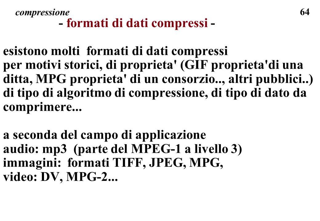 64 compressione - formati di dati compressi - esistono molti formati di dati compressi per motivi storici, di proprieta' (GIF proprieta'di una ditta,