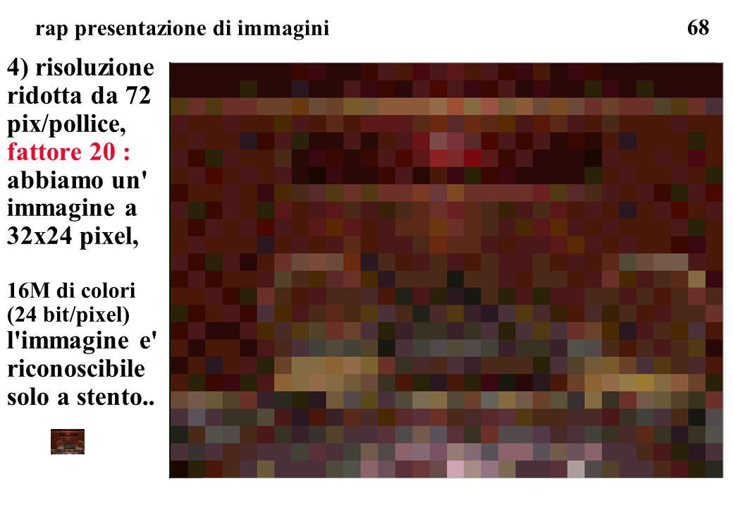 68 rap presentazione di immagini 4) risoluzione ridotta da 72 pix/pollice, fattore 20 : abbiamo un' immagine a 32x24 pixel, 16M di colori (24 bit/pixe