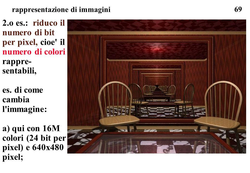 69 rappresentazione di immagini 2.o es.: riduco il numero di bit per pixel, cioe' il numero di colori rappre- sentabili, es. di come cambia l'immagine