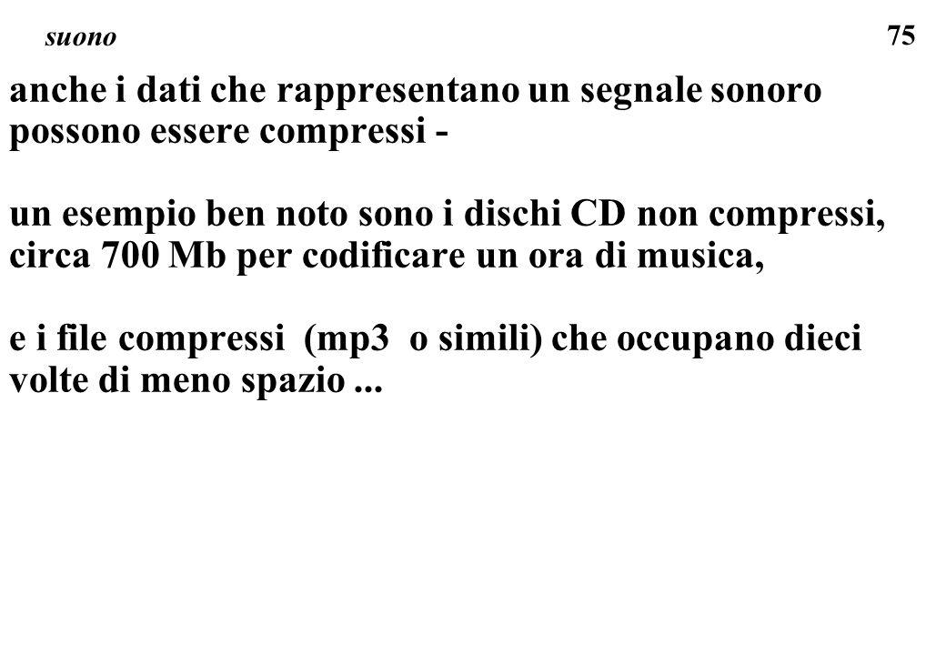 75 suono anche i dati che rappresentano un segnale sonoro possono essere compressi - un esempio ben noto sono i dischi CD non compressi, circa 700 Mb