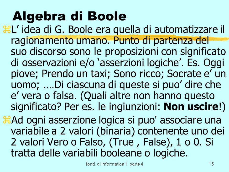 fond. di informatica 1 parte 415 Algebra di Boole zL idea di G.