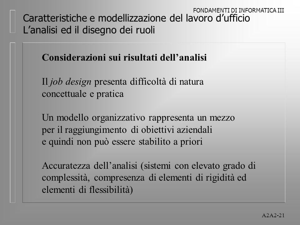 FONDAMENTI DI INFORMATICA III A2A2-21 Caratteristiche e modellizzazione del lavoro dufficio Lanalisi ed il disegno dei ruoli Considerazioni sui risultati dellanalisi Il job design presenta difficoltà di natura concettuale e pratica Un modello organizzativo rappresenta un mezzo per il raggiungimento di obiettivi aziendali e quindi non può essere stabilito a priori Accuratezza dellanalisi (sistemi con elevato grado di complessità, compresenza di elementi di rigidità ed elementi di flessibilità)