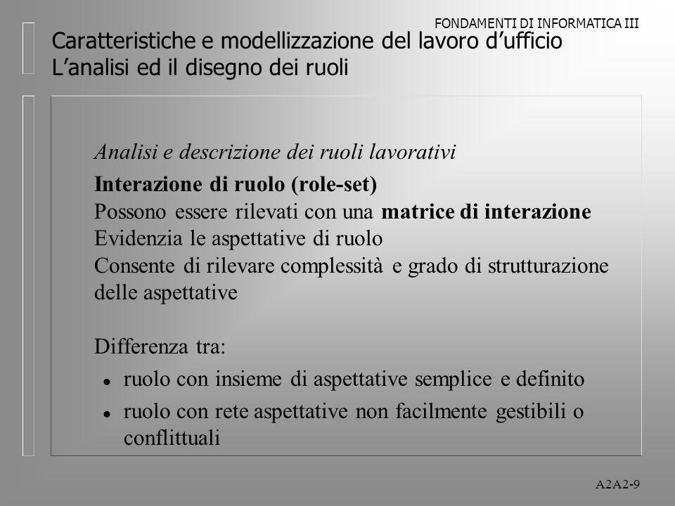 FONDAMENTI DI INFORMATICA III A2A2-9 Caratteristiche e modellizzazione del lavoro dufficio Lanalisi ed il disegno dei ruoli Analisi e descrizione dei ruoli lavorativi Interazione di ruolo (role-set) Possono essere rilevati con una matrice di interazione Evidenzia le aspettative di ruolo Consente di rilevare complessità e grado di strutturazione delle aspettative Differenza tra: l ruolo con insieme di aspettative semplice e definito l ruolo con rete aspettative non facilmente gestibili o conflittuali