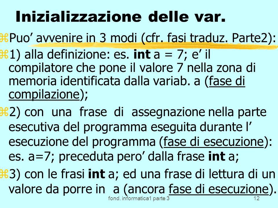 fond. informatica1 parte 312 Inizializzazione delle var. zPuo avvenire in 3 modi (cfr. fasi traduz. Parte2): z1) alla definizione: es. int a = 7; e il
