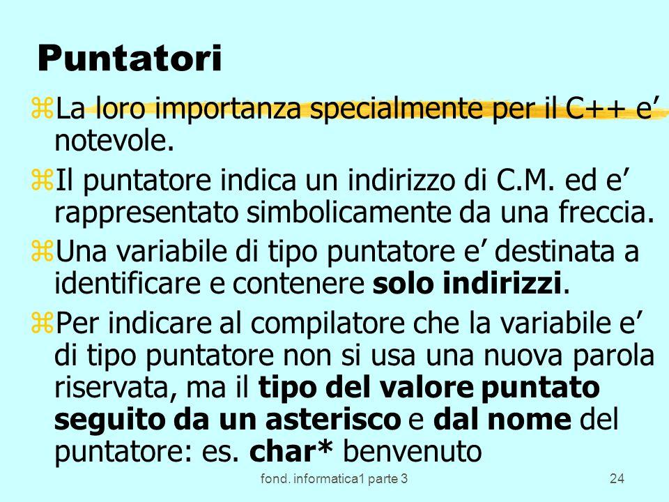 fond. informatica1 parte 324 Puntatori zLa loro importanza specialmente per il C++ e notevole. zIl puntatore indica un indirizzo di C.M. ed e rapprese