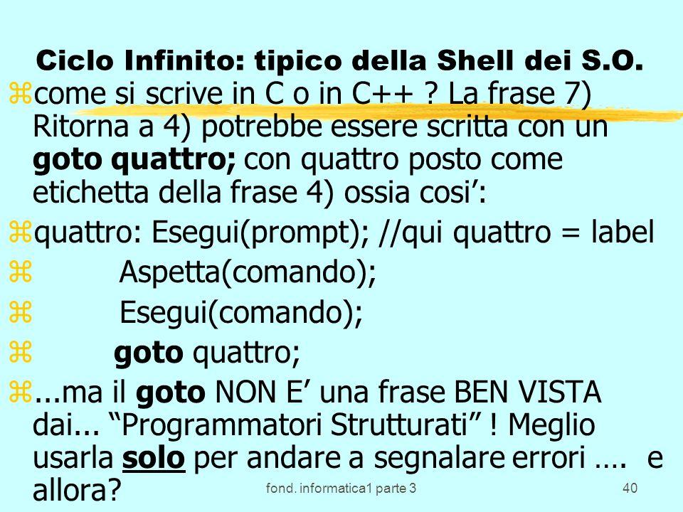 fond. informatica1 parte 340 Ciclo Infinito: tipico della Shell dei S.O. zcome si scrive in C o in C++ ? La frase 7) Ritorna a 4) potrebbe essere scri