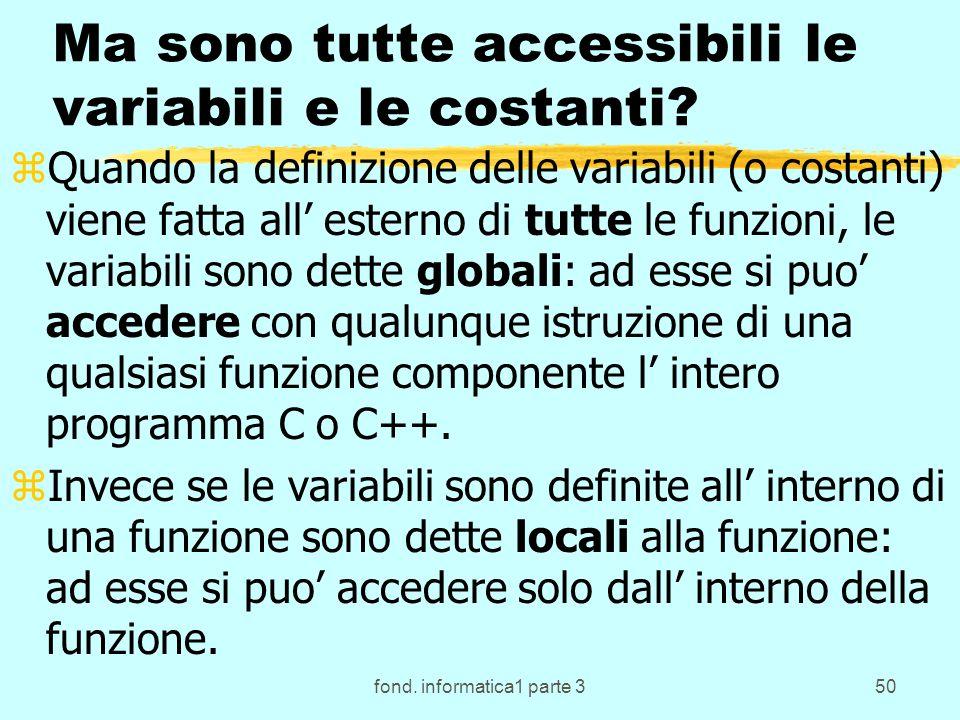 fond. informatica1 parte 350 Ma sono tutte accessibili le variabili e le costanti? zQuando la definizione delle variabili (o costanti) viene fatta all