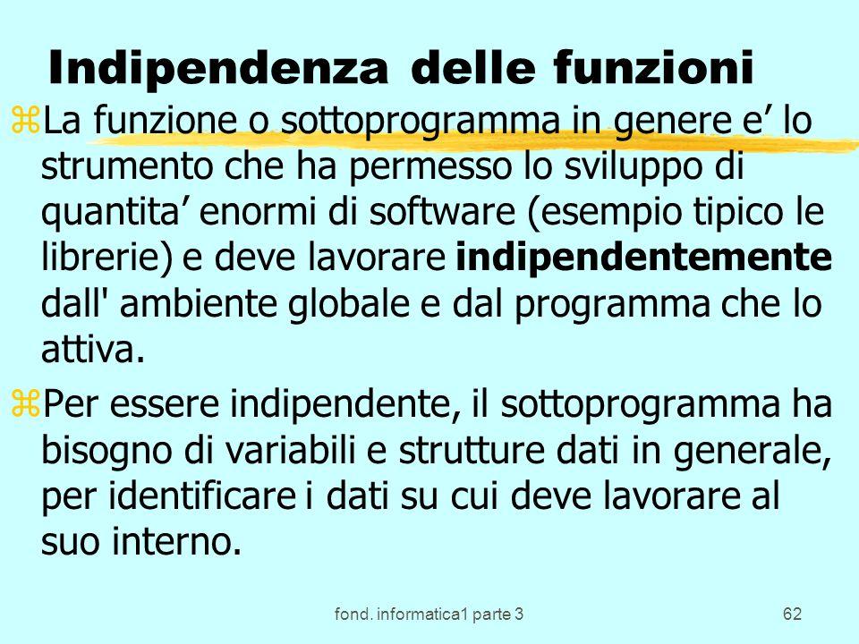 fond. informatica1 parte 362 Indipendenza delle funzioni zLa funzione o sottoprogramma in genere e lo strumento che ha permesso lo sviluppo di quantit