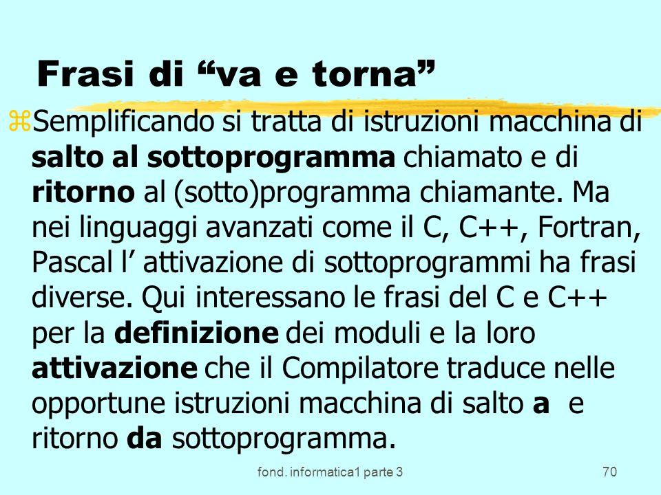 fond. informatica1 parte 370 Frasi di va e torna zSemplificando si tratta di istruzioni macchina di salto al sottoprogramma chiamato e di ritorno al (