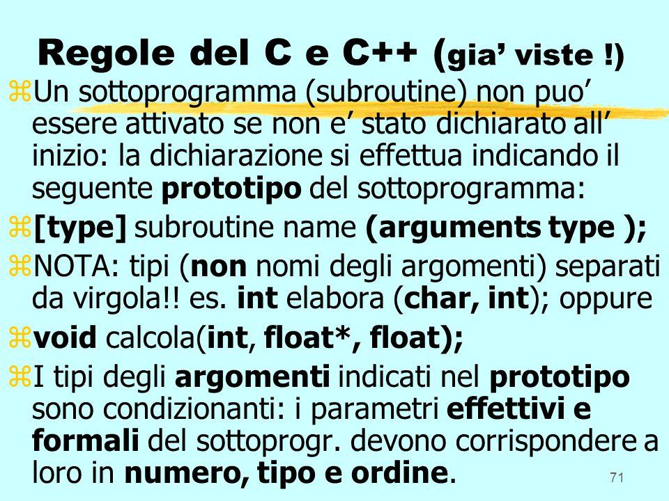 71 Regole del C e C++ ( gia viste !) zUn sottoprogramma (subroutine) non puo essere attivato se non e stato dichiarato all inizio: la dichiarazione si effettua indicando il seguente prototipo del sottoprogramma: z[type] subroutine name (arguments type ); zNOTA: tipi (non nomi degli argomenti) separati da virgola!.