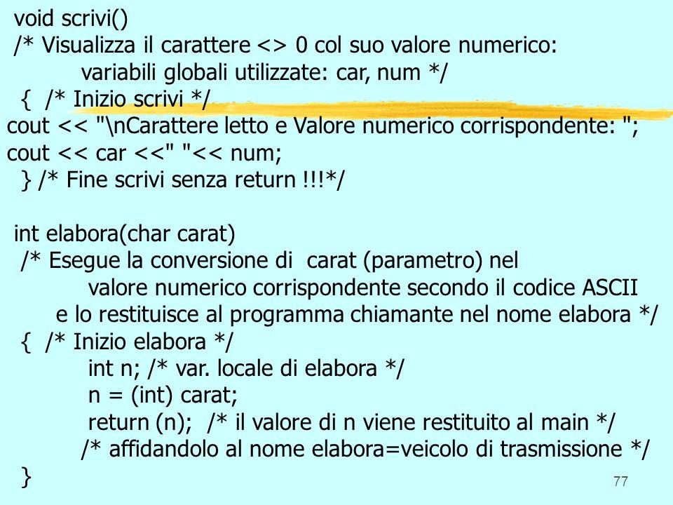 77 void scrivi() /* Visualizza il carattere <> 0 col suo valore numerico: variabili globali utilizzate: car, num */ { /* Inizio scrivi */ cout << \nCarattere letto e Valore numerico corrispondente: ; cout << car << << num; } /* Fine scrivi senza return !!!*/ int elabora(char carat) /* Esegue la conversione di carat (parametro) nel valore numerico corrispondente secondo il codice ASCII e lo restituisce al programma chiamante nel nome elabora */ { /* Inizio elabora */ int n; /* var.
