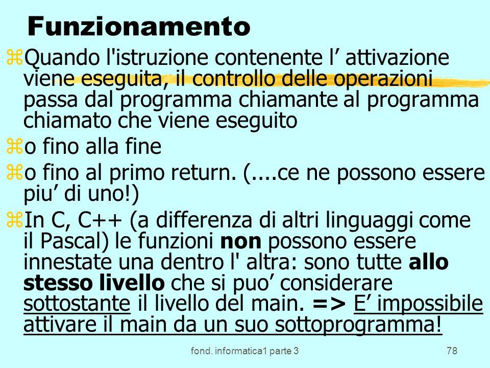 fond. informatica1 parte 378 Funzionamento zQuando l'istruzione contenente l attivazione viene eseguita, il controllo delle operazioni passa dal progr